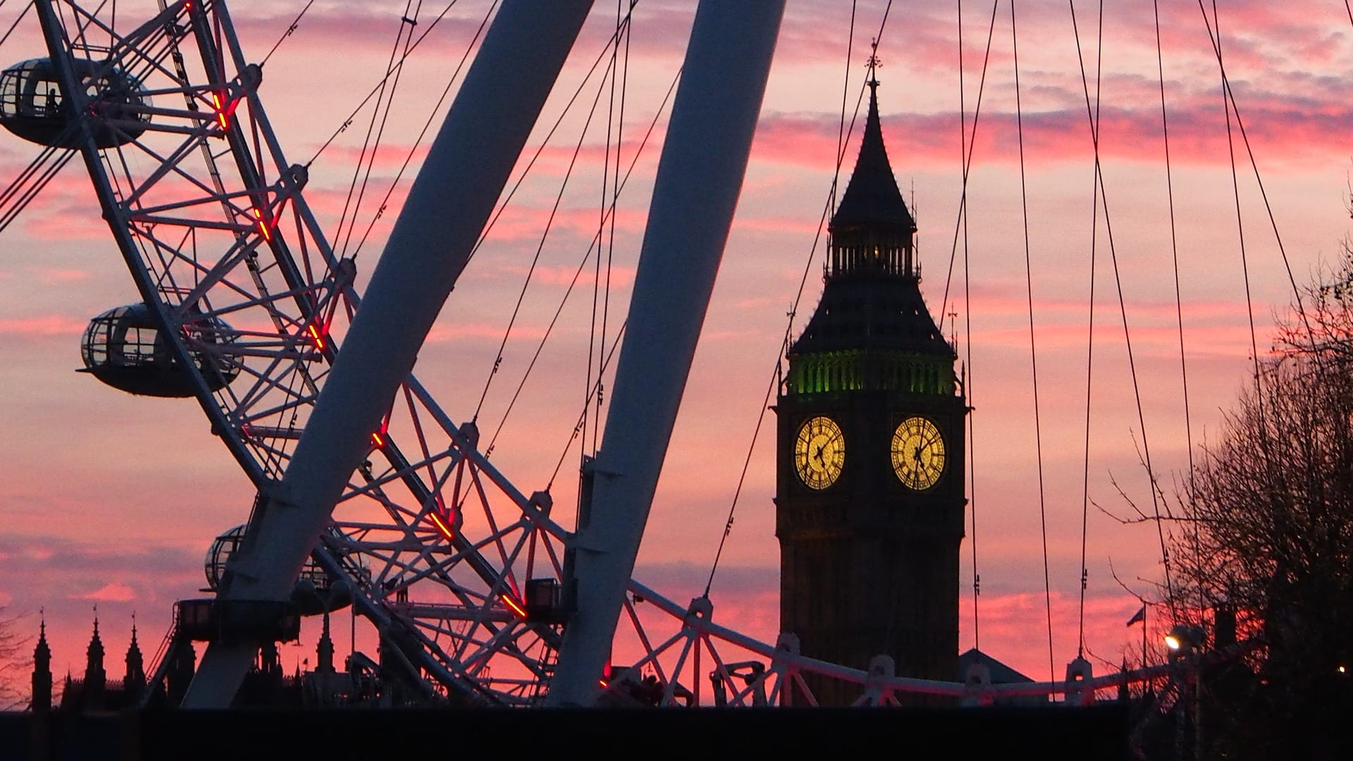 Big Ben, London eye, maisema Lontoosta