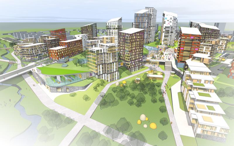 Havainnekuva Espoon uuden kaupunginosan, Fiinnoon tulevasta keskustasta.