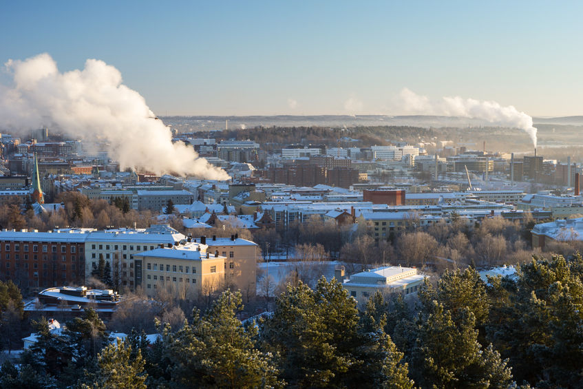 36629858 - view over the city of tampere, finland in the winter in daylight